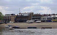 Boathouses along the River Thames at Putney