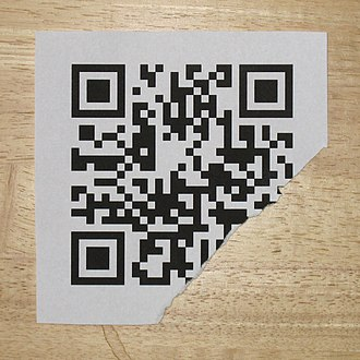 QR code - Damaged but still decodable QR code, Link to http://en.m.wikipedia.org