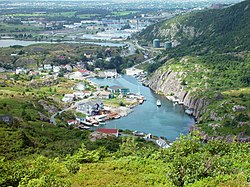 Quidi Vidi as seen looking west from the top of Cuckhold's Cove Head
