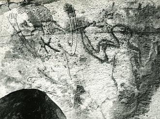 Rock art of south Oran (Algeria) - Image: R'cheg Dirhem. Deux personnages