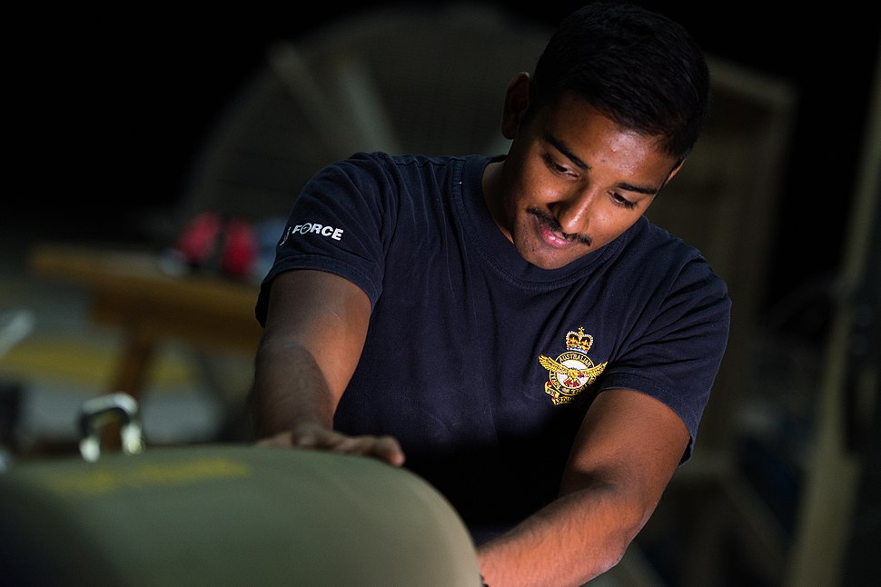 RAAF airman constructing a Joint Direct Attack Munition in February 2017