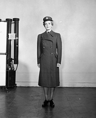 Royal Canadian Air Force Women's Division - Women's Division airwoman modelling WD uniform. RCAF Station Rockcliffe, Ontario, 1942