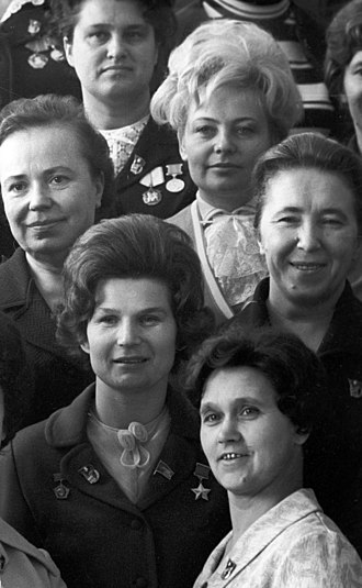 24th Congress of the Communist Party of the Soviet Union - Valentina Tereshkova, bottom left, with delegates at the 24th CPSU Congress