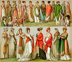 The wearing of shawls in early 19th-century Fr...