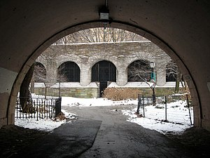 West Side Line (NYCRR) - View from under Henry Hudson Parkway toward maintenance gate to tracks
