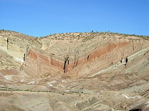 Fold (geology) - Rainbow Basin syncline in the Barstow Formation near Barstow, California