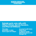 Raleigh early vote rally with Hillary Clinton, Bernie Sanders, and Pharrell Williams.png