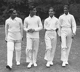 Ranjitsinhji - Nephews of Ranjitsinhji in 1932. Left-right: K.S. Samarsinhji, K.S. Indravijaysinhi, K.S. Ranvirsinhji and K.S. Jayendrasinhji. The first three are brothers. All four took up cricket following their uncle.