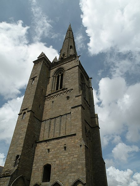 Gothic bell tower of Saint-Sauveur abbey in Redon