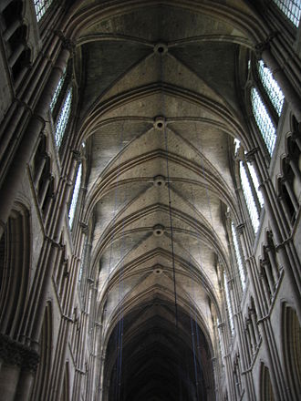 Rib vault - Rib vaulting in the nave of Reims Cathedral
