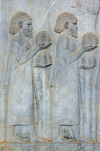Ionia (satrapy) - Ionian delegation, relief at Apadana stairs of Persepolis