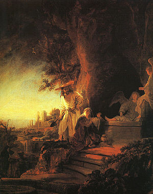 Empty tomb - Rembrandt's perception of the moment when Mary turns her head and sees the newly-risen Jesus. He is holding a spade to explain her initial belief that he was a gardener