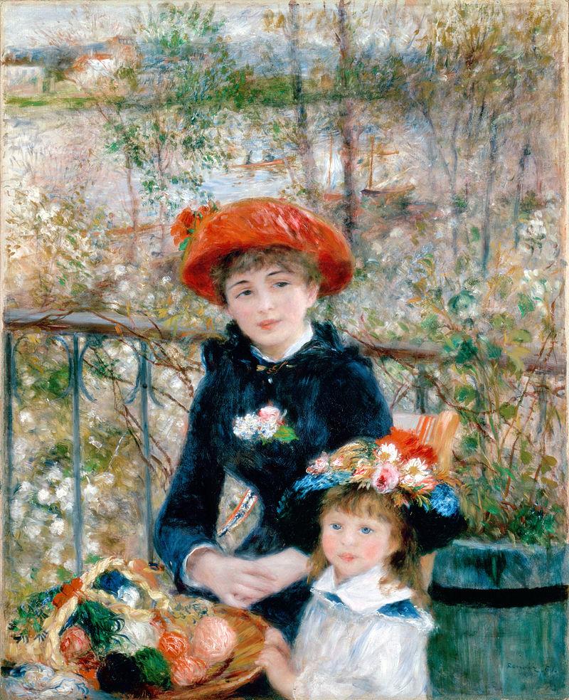 Les Deux Sœurs (Sur la terrasse), huile sur toile de Renoir réalisée en 1881, aujourd'hui à l'Art Institute of Chicago (États-Unis), qui possède la plus importante collection de toiles impressionnistes hors de Paris.  (définition réelle 10276×12634)