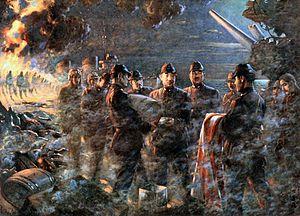 """Tamon Yamaguchi - Japanese painting entitled """"Last Moments of Admiral Yamaguchi"""""""