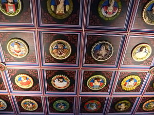 Government in early modern Scotland - The Stirling Heads, carved roundels on the roof of the King's Chamber in Stirling Castle, include many members of the court of James V