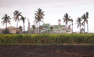 Saint-Louis, Réunion - The sugarcane factory and the bagasse/coal dual power plant of Gol, in Saint-Louis