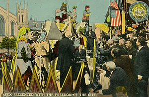 Mardi Gras in New Orleans - Rex, presented with freedom of the city; early 20th century postcard