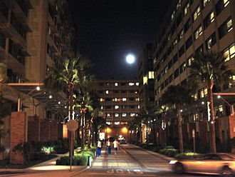 UCLA student housing - Rieber Court is surrounded by (from left to right) Rieber Terrace, Rieber Hall, and Rieber Vista.