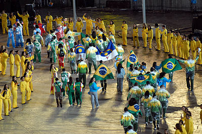 Athletes gather in the stadium during the closing ceremony of the 2007 Pan American Games. Rio 2007 closing ceremony 6.jpg