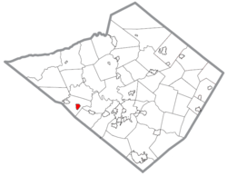 Location of Robesonia in Berks County, Pennsylvania.