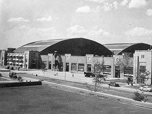 View of Robins Air Depot aircraft hangars and ...