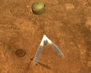 Retrorocket - Descent of a martian lander halted by retrorockets. (computer-generated impression)