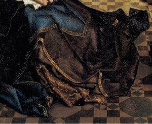 Saint Luke Drawing the Virgin - Detail showing folds in Mary's dress
