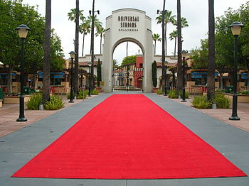 The rolled out red carpet at the entrance to U...