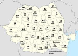 Map Of Romania With Each Department And The Munility Bucharest Labelled Second Part Its Iso 3166 2 Code