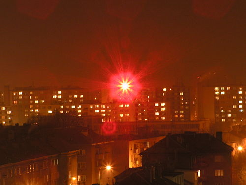 RONJA is a free implementation of FSO using high-intensity LEDs. Ronja beam Prostejov.jpg