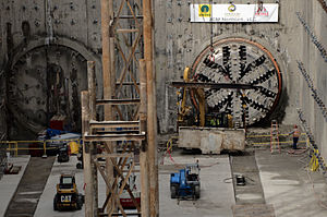 Roosevelt station (Sound Transit) - Tunnel boring machine head at Roosevelt Station, 2015