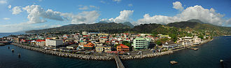 Roseau - Panorama of Roseau from a cruise ship.