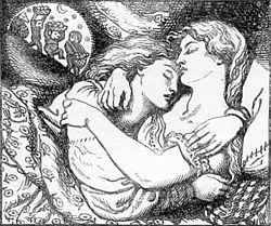 "Illustration for the cover of Christina Rossetti's Goblin Market and Other Poems (1862), by Dante Gabriel Rossetti. Goblin Market used complex poetic diction in nursery rhyme form: ""We must not look at goblin men, / We must not buy their fruits: / Who knows upon what soil they fed / Their hungry thirsty roots?"""