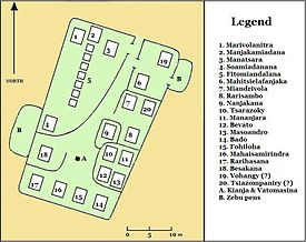 Map showing the layout of nearly twenty small structures within the compound
