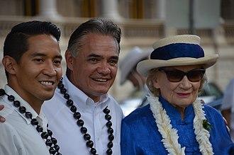 Royal Hawaiian Band - Bandmaster Clarke Bright (center) with Abigail Kinoiki Kekaulike Kawānanakoa