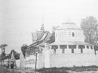 Royal Palace, Phnom Penh - The Chan Chhaya Pavilion in 1885 and a now-removed bastion.