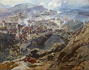 Siege of Akhoulgo - A panoramic painting by Franz Roubaud