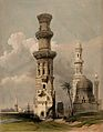 Ruined mosques to the west of Cairo, Egypt. Coloured lithogr Wellcome V0049390.jpg
