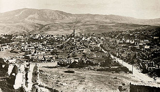 Anti-Armenian sentiment in Azerbaijan - The ruins of the Armenian quarter of Shusha after destruction by the Azerbaijani army in 1920.