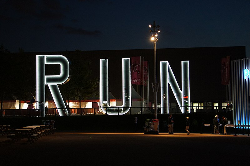 File:Run artwork at nigt near Copper Box, Stratford.jpg