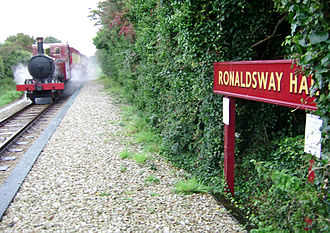 Ronaldsway - IMR steam train from Douglas arriving at Ronaldsway Halt in 2006