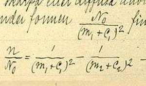 Rydberg formula - Rydberg's formula as it appears in a November 1888 record