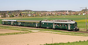 Swiss Federal Railways - Historic SBB push-pull train consisting of BDe 4/4, A, ABt near Hettlingen ZH