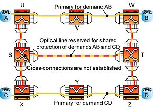 Optical mesh network - Shared backup path protection - before failure