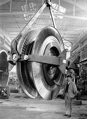Fredrik Ljungström - The turbine rotor for Ljungström steam turbine 50 MW electric generator (circa 1932).