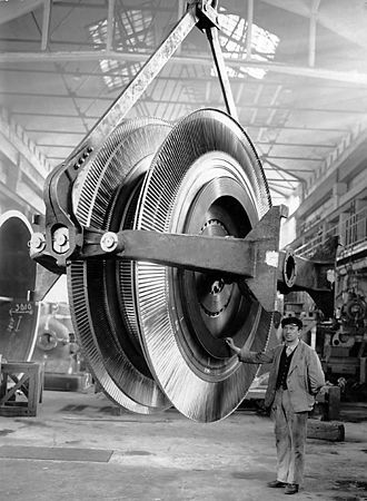 Fredrik Ljungström - The turbine rotor for Ljungström steam turbine 50 MW electric generator (circa 1932).