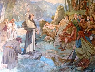 Bridei I - 19th-century illustration of Saint Columba's conversion of King Bridei, by William Hole.