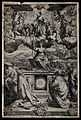 Saint Francis of Assisi on a cloud with cherubs; giving the Wellcome V0032029.jpg
