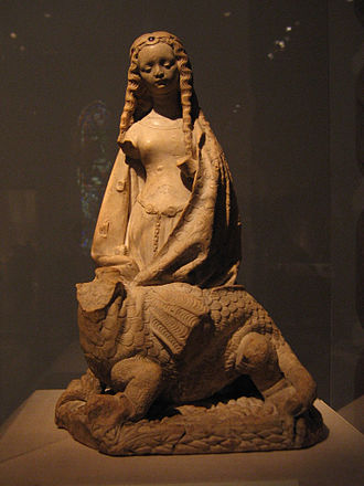 Margaret the Virgin - Saint Margaret and the Dragon, alabaster with traces of gilding, Toulouse (ca 1475). (Metropolitan Museum of Art).