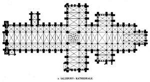 Salisbury Cathedral - Plan showing the double transepts with aisles and extended east end, but not the cloisters or chapter house